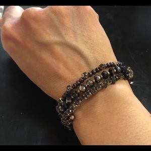 Vtge Flexible Rhinestone & Beads Bracelet